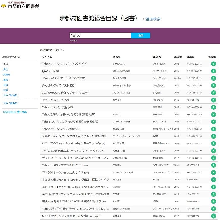 京都府立図書館総合目録のウェブサイト