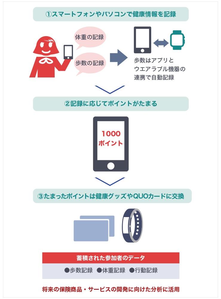 スマートフォンやパソコンで参加者の健康情報を記録する。記録に応じてポイントがたまる。そのポイントを健康グッズやQUOカードに交換できる。蓄積された参加者のデータは、将来の保険商品・サービスの開発に向けた分析に活用される。