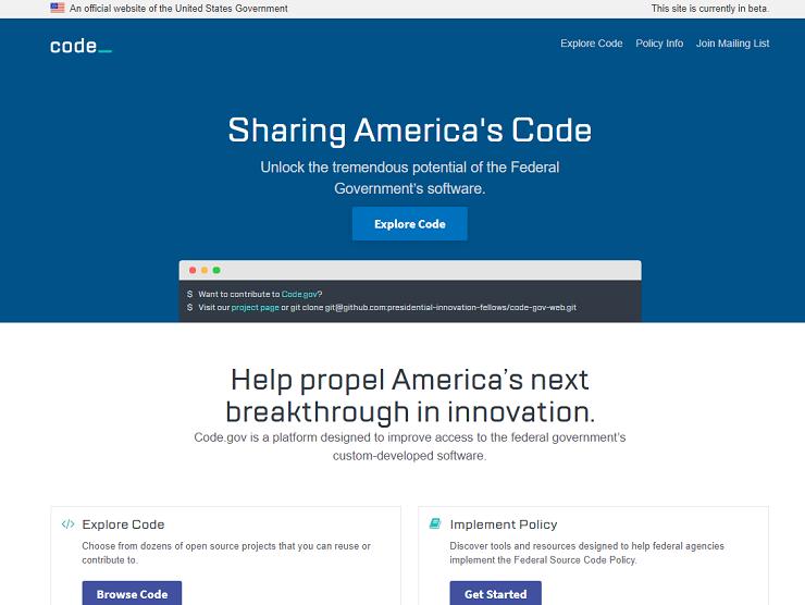 Code.govのトップページ。コードを探したり、関連団体がどんなコードを公開しているか、GitHubなどから閲覧したりすることができる