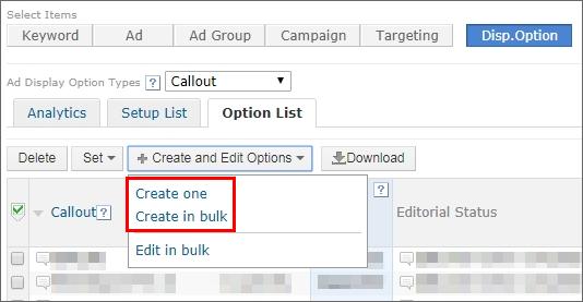 Create options