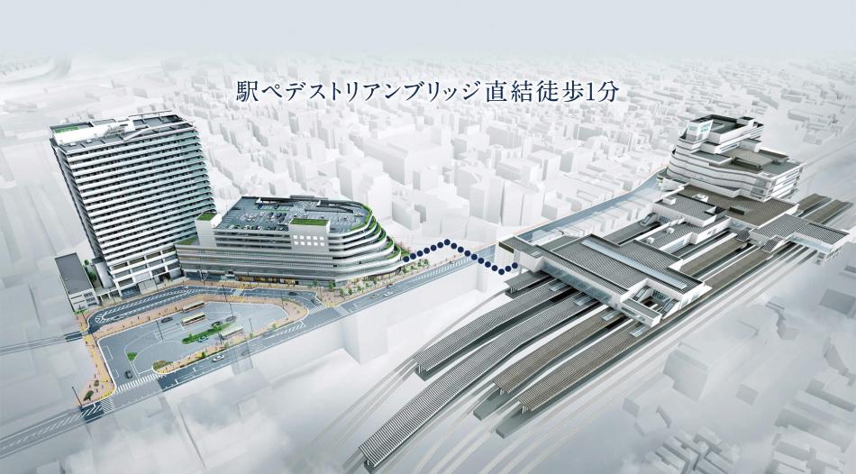 ※本物件2階部分と駅とをつなぐペデストリアンブリッジ(横断歩道橋)は、横浜市により設置される予定です(2020年度完成予定)。なお、完成時期、仕様、形状等は変更となる場合があります(2018年4月現在の情報です)。 ※JR大船駅笠間口から本物件敷地まで徒歩1分(約70m)、住宅棟入口まで徒歩3分(約210m)、公道ルートは徒歩3分(約210m)となります。徒歩分数は、約80mを1分として算出(端数切り上げ)したものです。 ※掲載の再開発事業完成予想CGは、計画段階の図面を基に描き起こし、敷地外の建物の大きさ・高さ等は航空写真・3次元都市データを基に描き起こし合成したもので実際とは異なります。 ※サイン・フェンス・照明・雨樋・排水設備・室外機・排気口等、一部再現されていない設備機器がございます。タイル・石貼りの大きさは実際とは異なります。植栽は計画段階のもので、変更になる場合があります。葉や花の色合い、枝ぶり、樹形は想定であり、実際とは異なります。特定の季節・時期、またはご入居時期を想定して描かれたものではありません。