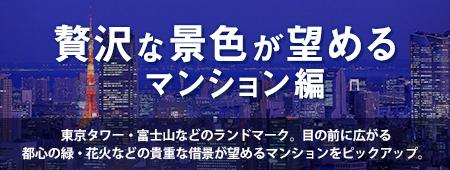 贅沢な景色が望めるマンション編 東京タワー・富士山などのランドマーク。目の前に広がる都心の緑・花火などの貴重な借景が望めるマンションをピックアップ。