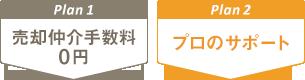 Plan1:売却仲介手数料0円 Plan2:プロのサポート
