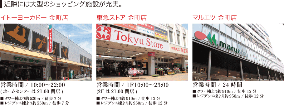 近隣には大型ショッピング施設が充実