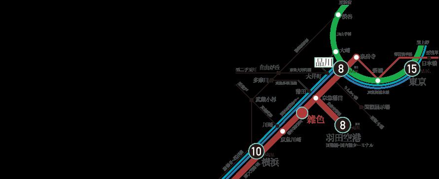 リニア中央新幹線の始発駅・羽田空港への玄関口として、これからの日本の成長を牽引する国際交流拠点として期待される品川。その品川へ8分の地に誕生するプラウドシティ大田六郷は、このエリアを、これからの東京を楽しむにふさわしい場所に誕生します。更に「東京」駅や「横浜」駅、そして羽田空港へのアクセスも良く、東京にとどまらず、日本、世界へのアクセスも便利です。 ※掲載の所要時間は日中平常時、()内は通勤時のものであり、時間帯により異なります。また、待ち時間・乗り換え時間を含みません。※掲載の情報は2015年7月時点のものです。