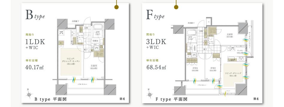 Btype間取り1LDK+W1C専有面積40.17m2-Ftype間取り3LDK+W1C専有面積68.54m2