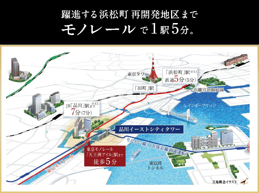 躍進する浜松町再開発地区までモノレールで1駅5分。