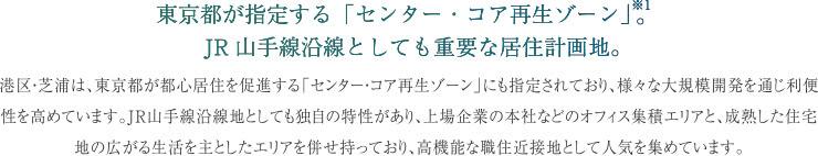 東京都が指定する「センター・コア再生ゾーン」※1。 JR山手線沿線としても重要な居住計画地。