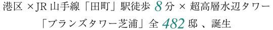 港区×JR山手線「田町」駅徒歩8分×超高層水辺タワー 「ブランズタワー芝浦」全482邸 、誕生
