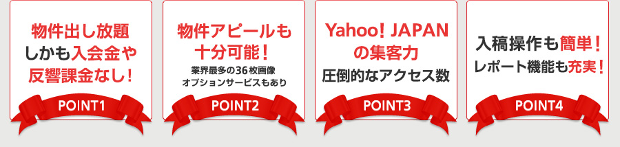 物件出し放題しかも入会金や反響課金なし!/物件アピールも十分可能!/Yahoo! JAPANの集客力圧倒的なアクセス数/入稿操作も簡単!レポート機能も充実!