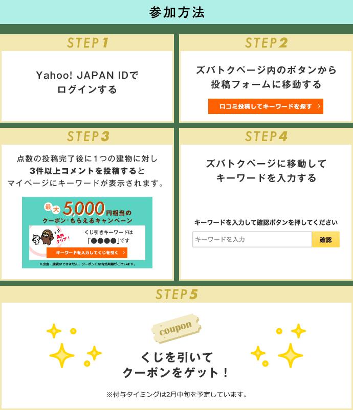 参加方法 STEP1 Yahoo! JAPAN IDでログインする STEP2 ズバトクページ内のボタンから投稿フォームに移動する STEP3 点数の投稿完了後に1つの建物に対し3件以上コメントを投稿するとマイページにキーワードが表示されます STEP4 ズバトクページに移動してキーワードを入力する STEP5 くじを引いてPayPayボーナスライトをゲット! ※進呈タイミングは2月中旬を予定しています。