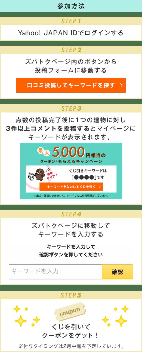 参加方法 STEP1 Yahoo! JAPAN IDでログインする STEP2 ズバトクページ内のボタンから投稿フォームに移動する STEP3 点数の投稿完了後にコメントを1つのマンションに対し3件以上コメントを投稿するとマイページにキーワードが表示されます STEP4 ズバトクページに移動してキーワードを入力する STEP5 くじを引いてPayPayボーナスライトをゲット! ※進呈タイミングは2月中旬を予定しています。