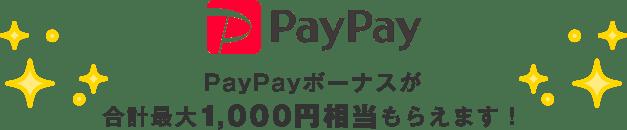 PayPayボーナスが合計最大1,000円相当もらえます!