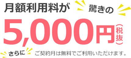 月額利用料30.000円→驚きの5.000円(税込) 条件:手数料について:振込みやコンビニ払いに伴う手数料は、お客様にご負担いただきます。