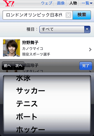 Yahoo!検索(人物)で「ロンドンオリンピック日本代表」と検索!