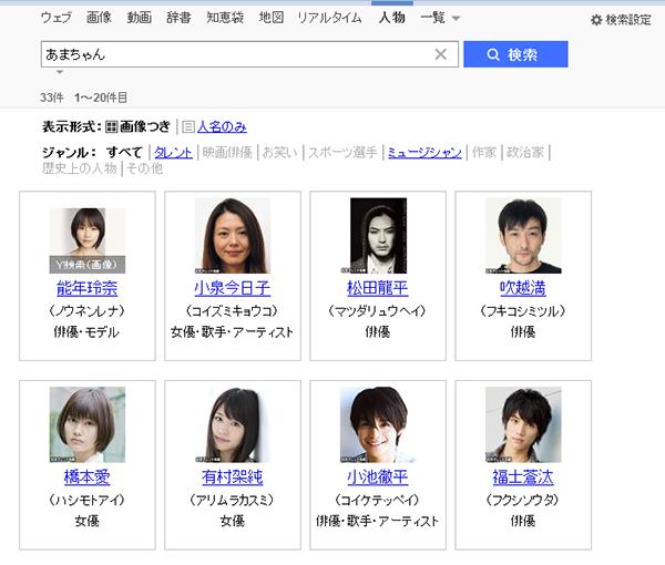 「あまちゃん」の検索結果 - Yahoo!検索(人物)