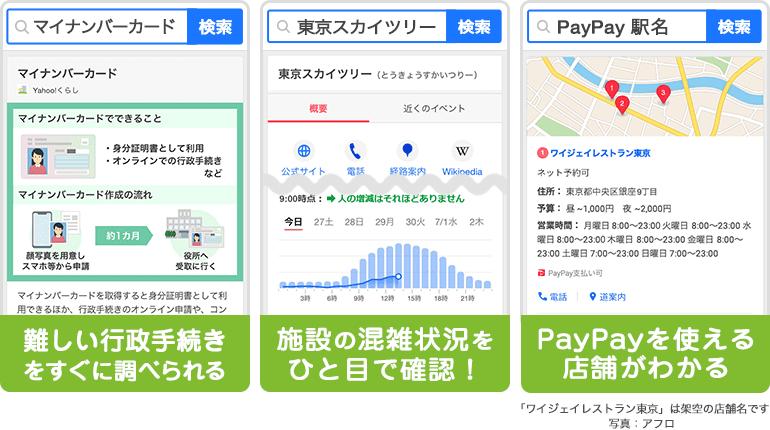 「マイナンバーカード」で検索すると、難しい行政手続きをすぐに調べられる。「東京スカイツリー」で検索すると、施設の混雑状況を一目で確認できる。「PayPay 駅名」で検索すると、PayPayを使える店舗がわかる。
