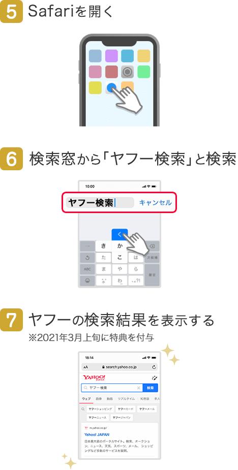 5.Safariを開く/6.検索窓から「ヤフー検索」と検索/7.ヤフーの検索結果を表示する
