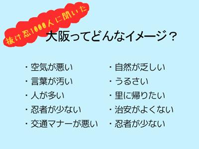 抜け忍100人に聞いた「大阪ってどんなイメージ?」:空気が汚い/ 自然が乏しい/ 言葉が汚い/ うるさい/ 人が多い/ 里に帰りたい/ 忍者が少ない/ 治安がよくない/ 交通マナーが悪い/ 忍者が少ない