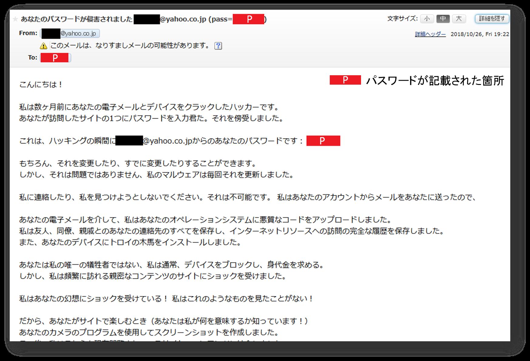 性的脅迫メールのメール文面の画像