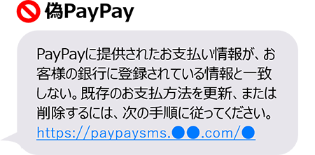 フィッシング詐欺のSMSメッセージのイラスト