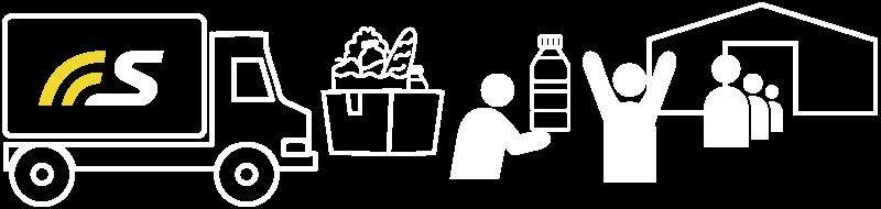 加盟企業から提供された物資を被災地の人たちに届ける例を示すイラストです。
