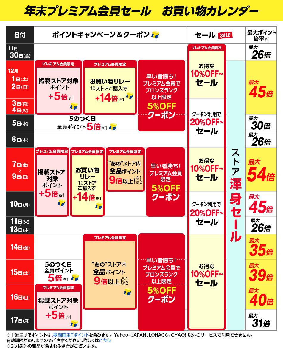 年末プレミアム会員セール お買い物カレンダー
