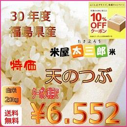 福島県産 天のつぶ 白米20kg