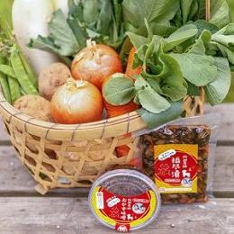 朝採り野菜と味噌と漬物のセット