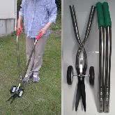 柄の長さが調節可能な「車輪付き伸縮式草刈鋏」