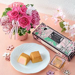 資生堂パーラー春限定チーズケーキとお花のセット
