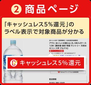 ②商品ページ 「キャッシュレス5%還元」のラベル表示で対象商品が分かる