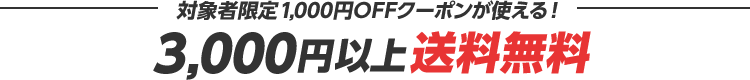 対象者限定1,000円OFFクーポンが使える! 3,000円以上送料無料