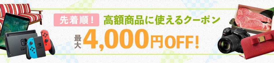 先着順! 高額商品に使えるクーポン 最大4,000円OFF!