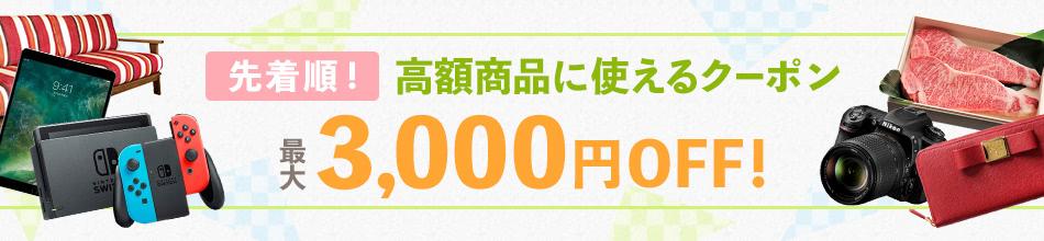 先着順! 高額商品に使えるクーポン 最大3,000円OFF!