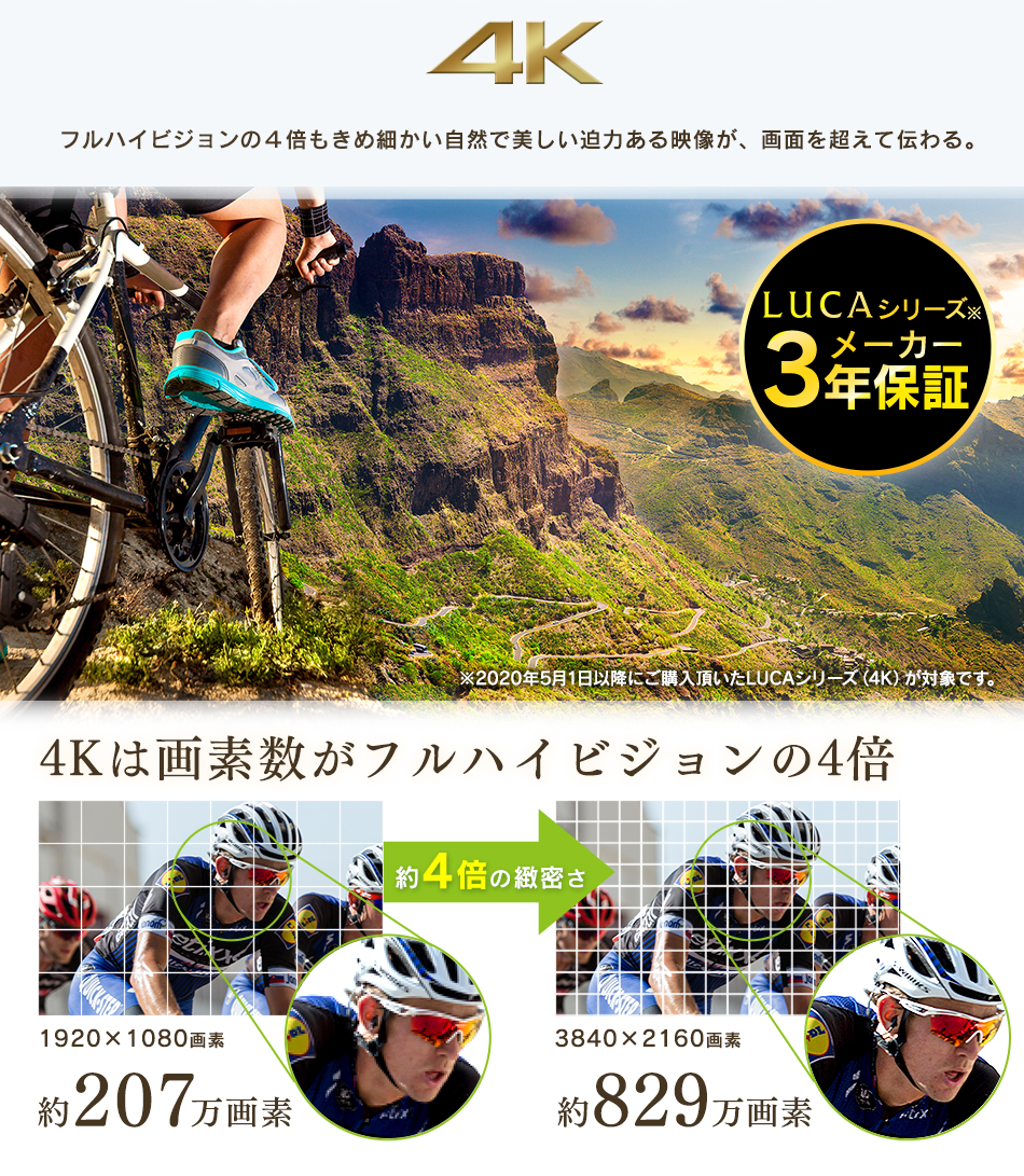 LUCAシリーズメーカー3年保証・4Kは画素数がフルハイビジョンの4倍