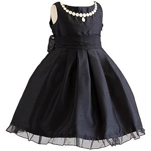 子供ドレス ボートネックパール刺繍ワンピース