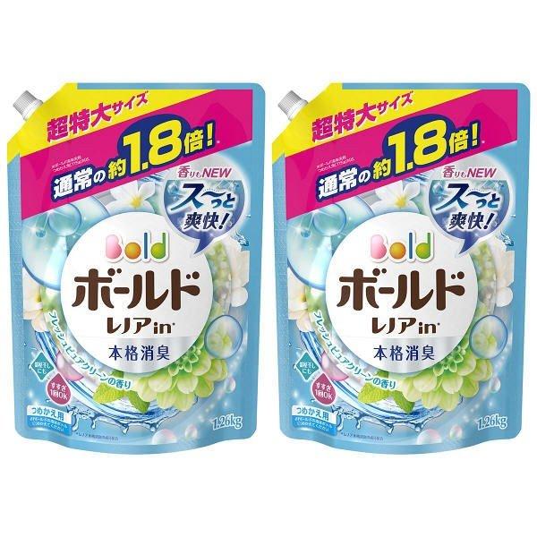 ボールド フレッシュピュアクリーンの香り 詰め替え 超特大 1.26kg 1セット(2個入) 洗濯洗剤 P&G
