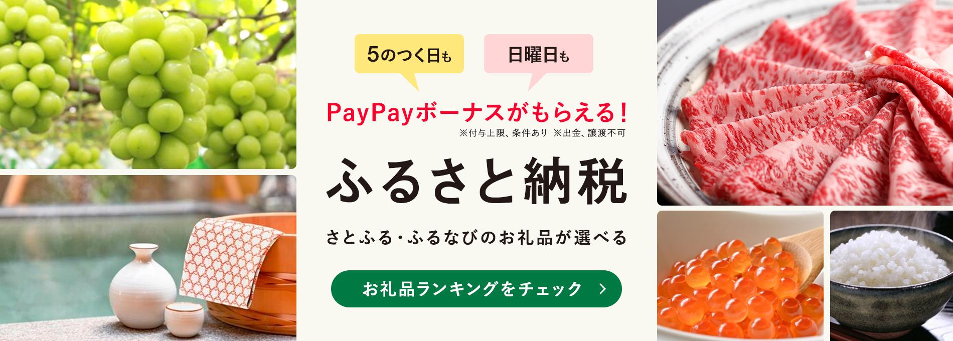 5のつく日も 日曜日も PayPayボーナスがもらえる! ※付与上限、条件あり ※出金、譲渡不可 ふるさと納税 さとふる・ふるなびのお礼品が選べる お礼品ランキングをチェック