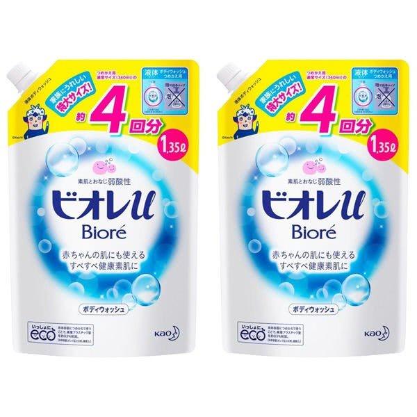 ビオレu ボディウォッシュ プレーン やさしいフレッシュフローラルの香り(微香性) 詰め替え 特大 1350ml 1セット(2個入) 花王