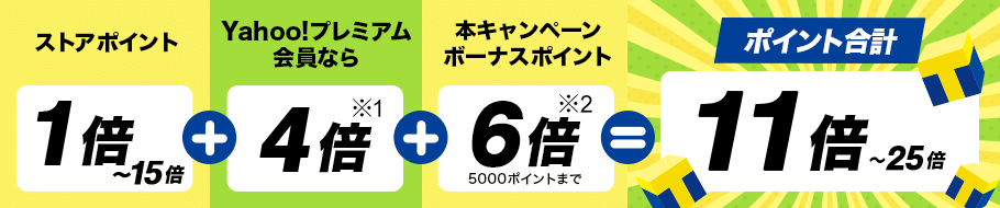 ストアポイント1倍~15倍+Yahoo!プレミアム会員なら4倍※1+本キャンペーンボーナスポイント6倍5000ポイントまで※2=ポイント合計11倍~25倍