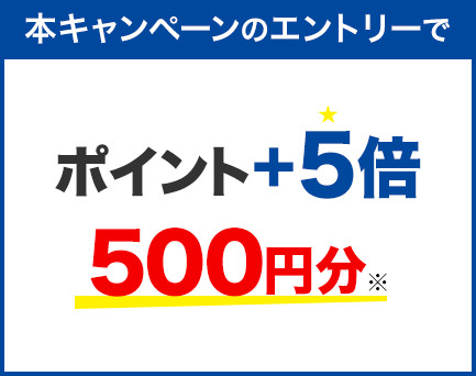 本キャンペーンのエントリーで ポイント+5倍 500円分