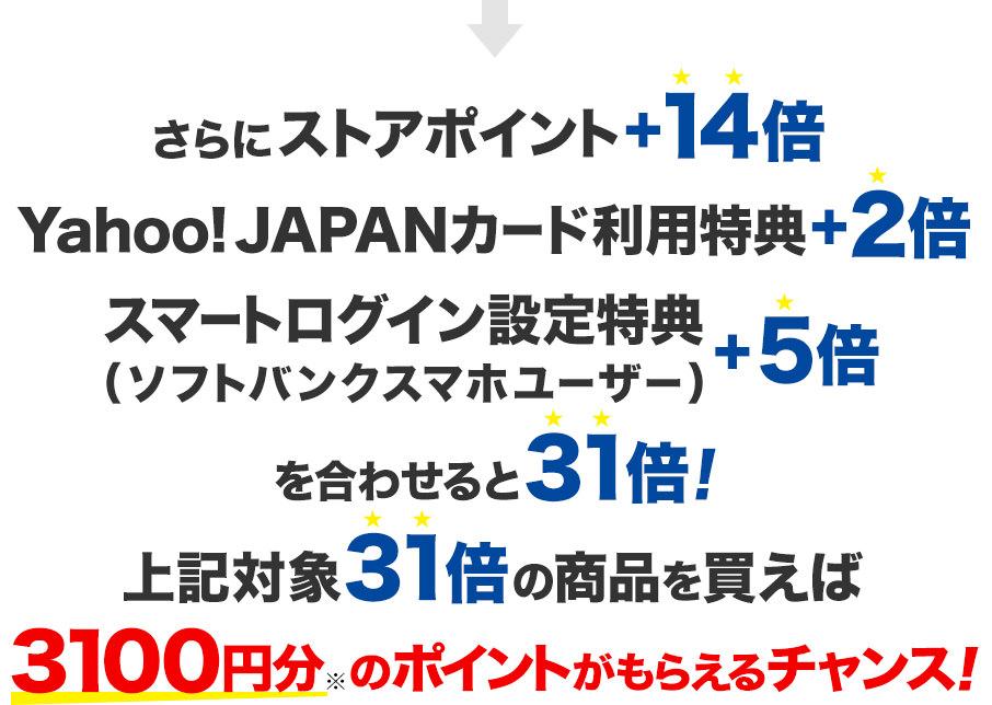 さらにストアポイント+14倍 Yahoo! JAPANカード利用特典+2倍 スマートログイン設定特典(ソフトバンクスマホユーザー)+5倍 を合わせると31倍! 上記対象31倍の対象商品を買えば3,100円分のポイントがもらえるチャンス!