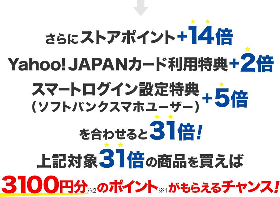 さらにストアポイント+14倍 Yahoo! JAPANカード利用特典+2倍 スマートログイン設定特典(ソフトバンクスマホユーザー)+5倍 を合わせると31倍! 上記対象31倍の対象商品を買えば3,100円分※2のポイント※1がもらえるチャンス!