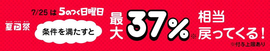 夏のPayPay祭 7/25は5のつく日曜日 条件を満たすと最大37%相当戻ってくる!