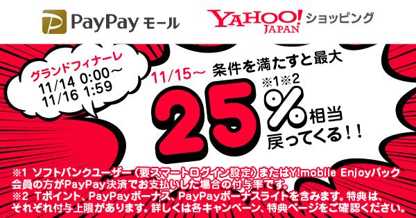 11/15〜条件を満たすと最大25%相当戻ってくる!!