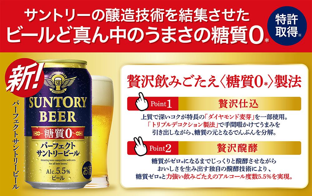 サントリーの醸造技術を結集させたビールど真ん中のうまさの糖質0