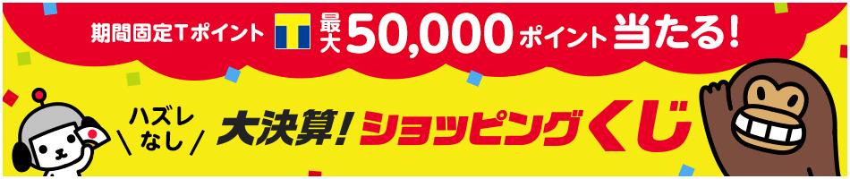 期間固定Tポイント最大50,000ポイント当たる!ハズレなし、大決算!ショッピングくじ