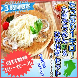 \送料無料/九州熟成 素麺&冷麦詰め合せ