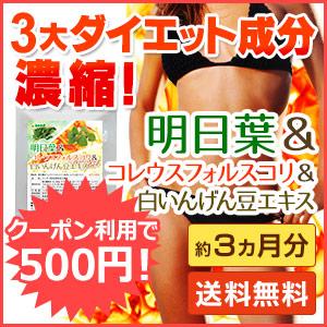 明日葉&フォルスコリ&白いんげん 3大ダイエット成分凝縮サプリ